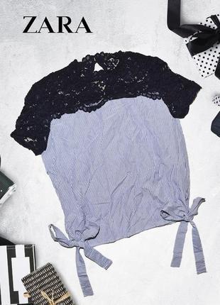 Полосатая футболка с завязками и рюшами на плечах zara