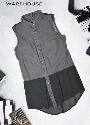 Джинсовый серый топ с имитацией рубашки ware denim by warehous