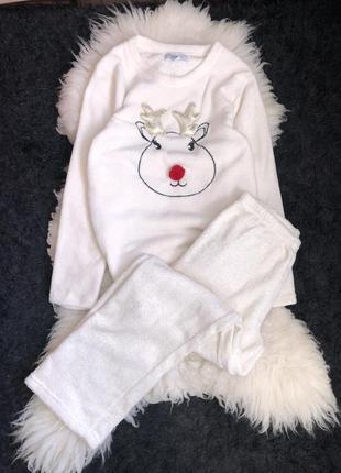 Пижама в блёстки сверкающая набор комплект махровая махра олень теплая молочная