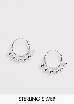 🦄 миниатюрные серьги колечки с шариками стерлинговое серебро kingsley ryan с сайта asos