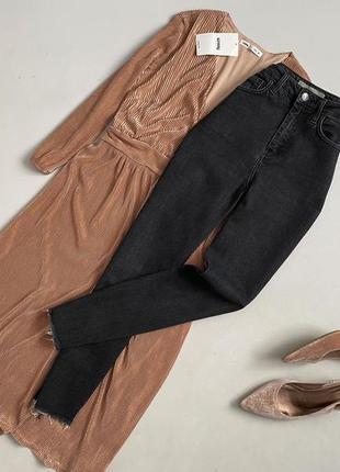 Крутые джинсы с высокой посадкой и необработанным краем topshop