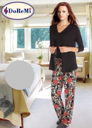 Піжама/пижама 3 в 1: штаны/майка/пеньюар