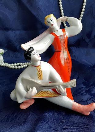 Русский танец с балалайкой (перепляс), фарфоровая статуэтка ссср, полонский зхк, 70-е
