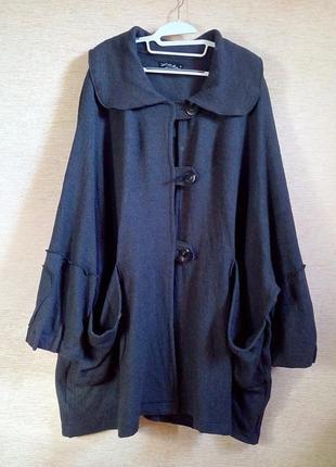 Шикарное шерстяное пальто, кардиган, накидка luba moden, оверсайз в стиле бохо