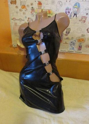 Черное лаковое эротическое мини платье black level