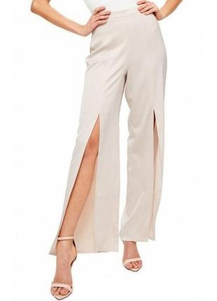 Легкие летние сатиновые нюдовые брюки с разрезами спереди missguided