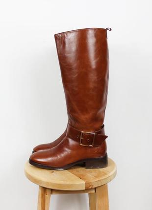 Рыже-коричневые кожаные сапоги-трубы zara
