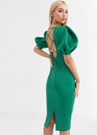 Asos зелена сукня-футляр з пишними рукавами та відкритою спинкою