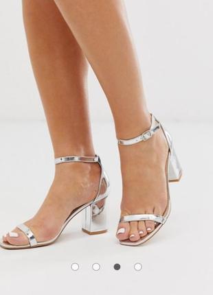 Серебристые босоножки на блочном каблуке asos glamorous