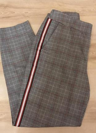 Штаны брюки клетчатые лампасы классические кюлоты