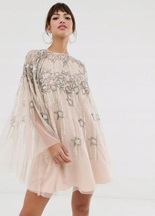 Asos розкішна тюлева сукня оверсайз-фасону вишита бісером та паєтками