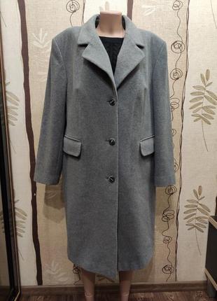 Barisal шерсть и кашемир! серое прямое демисезонное пальто