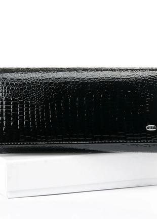 Кожаный лаковый женский черный кошелек натуральная кожа