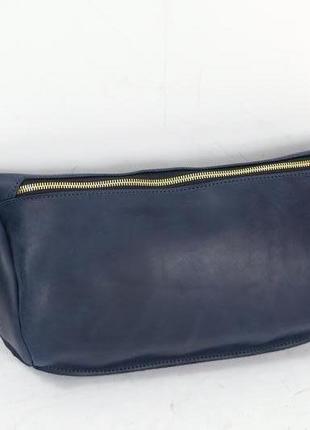 Мужская сумка бананка винтажная кожа цвет синий