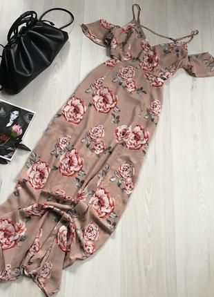 Очень красивое длинное платье в цветы forever 21 размер м