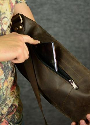 Мужская сумка бананка винтажная кожа цвет шоколад