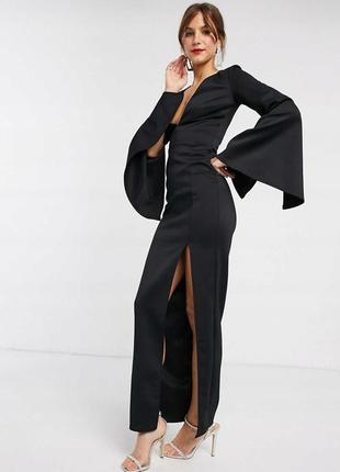 True violet чорна вечірня сукня з широкими рукавами