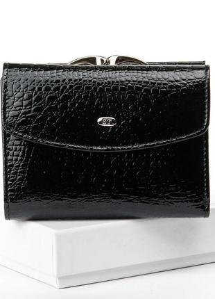 Кожаный лаковый женский кошелек черный,  красный, натуральная кожа