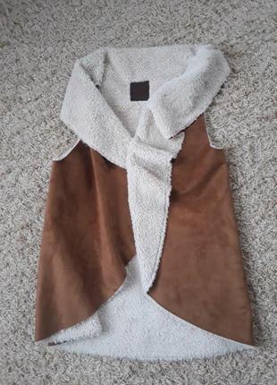 Жилетка мех кожа заиш дубленка куртка шуба