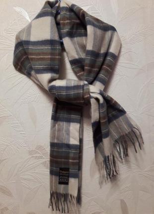 Стильный теплый шарф тартан, шерсть, кашемир, dalnes