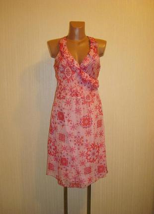 Платье шелковое, на запах, размер 8-10