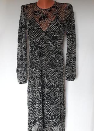 Шикарное вечернее кружевное платье - миди zara