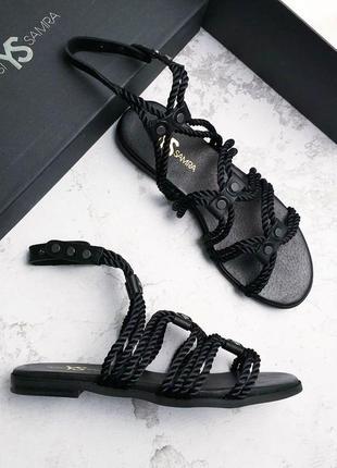 Yosi samra оригинал черные кожаные сандалии