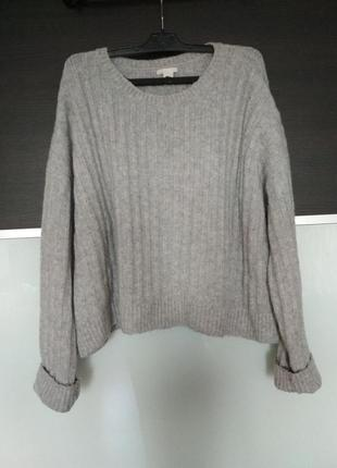 Серый объемный свитер h&m оверсайз