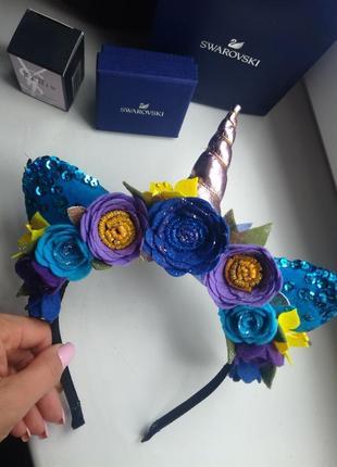 Ободок единорог, обруч единорог, обруч ушки, обруч в синем цвете