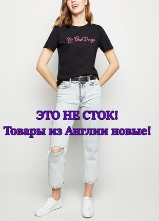 New look. товар из англии. комфортная футболка с неоновой надписью.