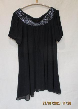 Шикарное шифоновое свободное платье с пайетками/можно для беременных/батал