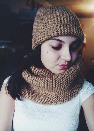 Комплект шарф/снуд/хомут и шапка ручной работы