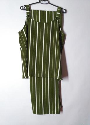 Костюм летний полосатый зеленый топ и брюки верх и низ