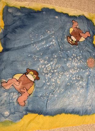 Веселые зверята шелковый платок шелк ручная роспись