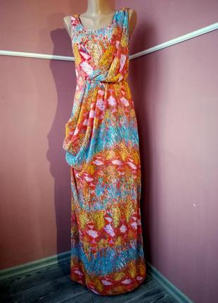 Длинное трикотажное стрейчевое  летнее платье (впереди  шифоновая вставка) 12 размер