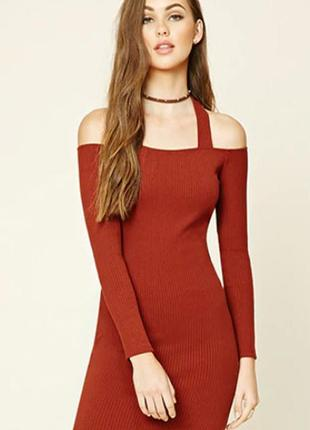Forever 21.товар из англии.новое платье футляр с вырезами на плечах. на наш размер 44.
