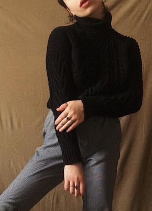 Вязаный крупной вязкой свитер турция