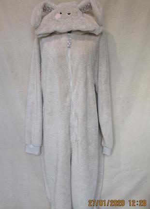 Классный пушистик/теплый махровый заяц/слип пижама кигуруми/батал высокий рост