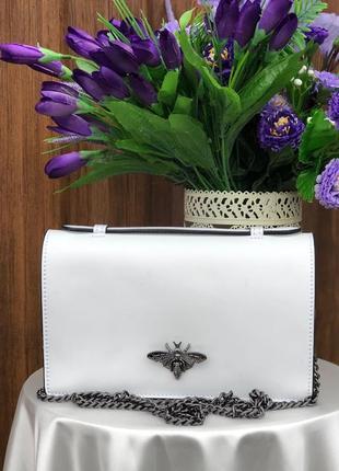Женская сумочка-клатч из натуральной кожи белая