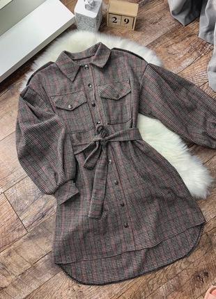 Новое платье рубашка шерстяная коричневая, чёрная  в клетку