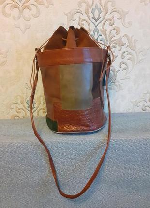 Трендовая сумка ведро кожа