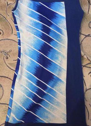 Аккуратное удобное хлопковое платье синее