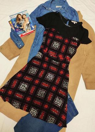 Платье шифоновое на подкладке с сеточкой чёрное белое красное клетчатое