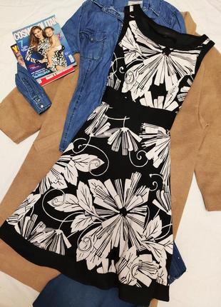Coast платье чёрное белое хлопковое классическое на подкладке цветочный принт миди