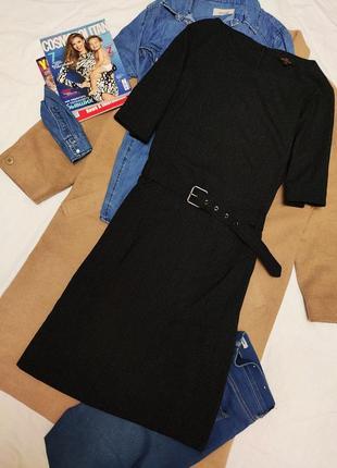 Платье классическое чёрное серебристое на поясе миди на подкладке next