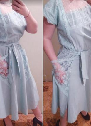 Шикарное  платье миди с кружевными карманами2 фото