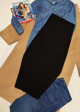 Чёрная юбка миди футляр карандаш классическая на молнии эластичная зара zara