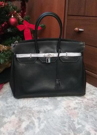Итальянская кожаная сумка с замочком vera pelle
