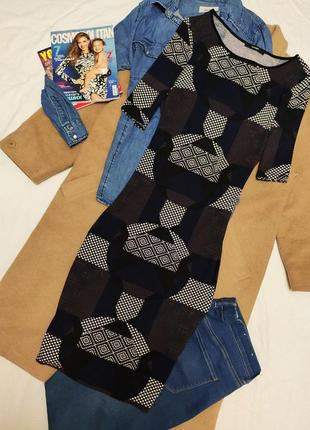 Платье геометрия чёрное белое синее коричневое миди эластичное футляр карандаш george