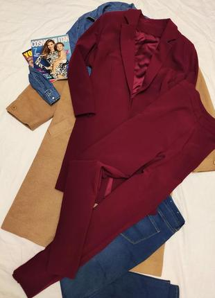 Joanna hope бордо марсала костюм брючный удлиненный пиджак брюки классика батал большой